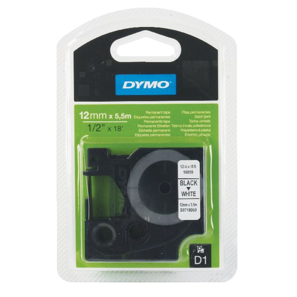 Dymo D1 Permanent Label Tape Black on White - 16959 / S0718060