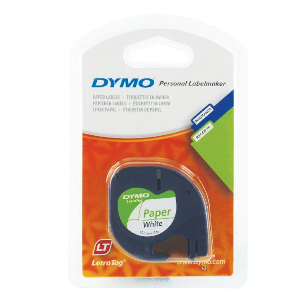 Dymo 12mm x 4m White Letratag Tape | 91200