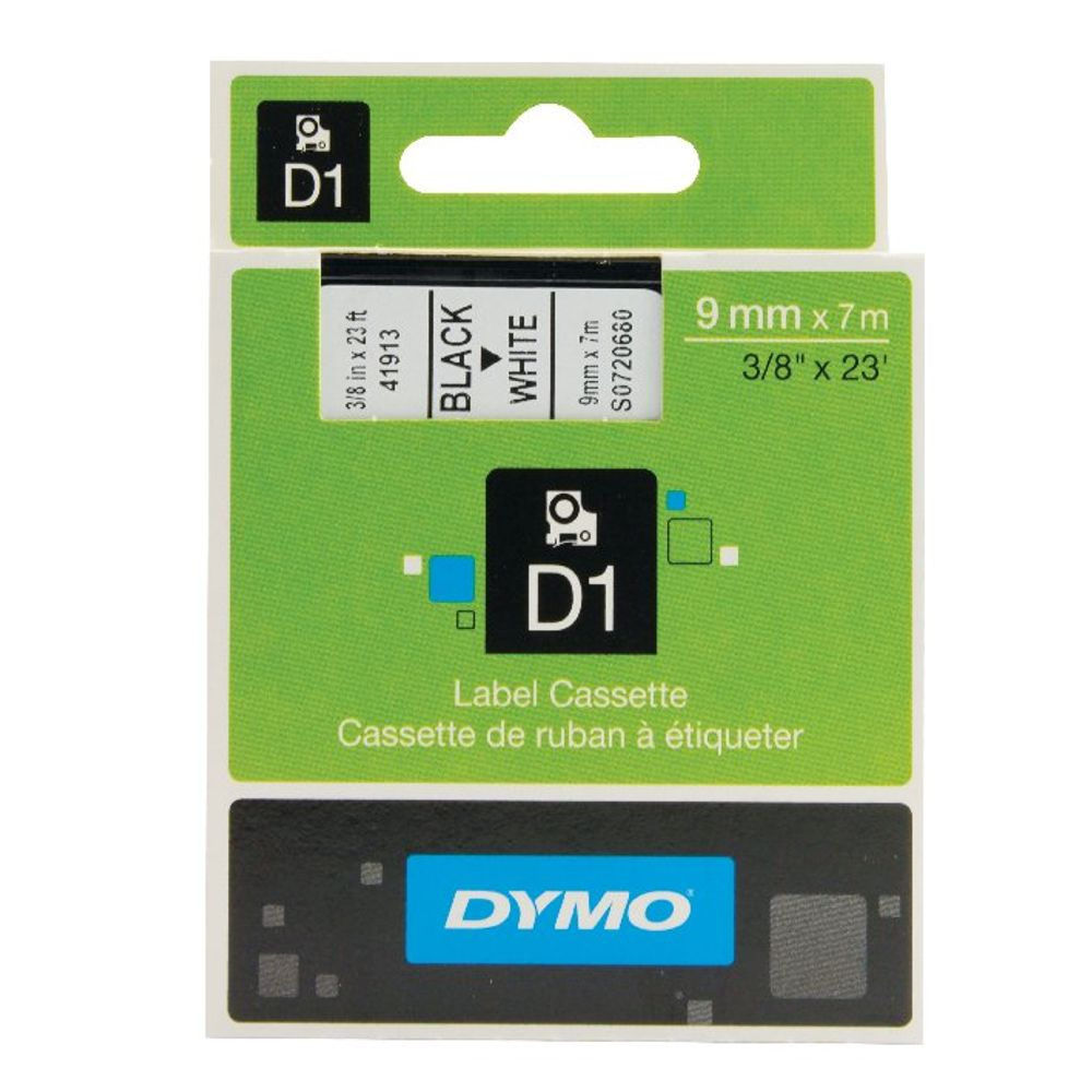 Dymo D1 Label Maker Tape 9mm x 7m Black on White | S0720680