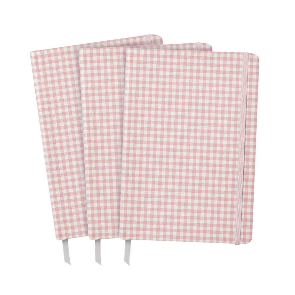 Pukka Ballerina Softcover Journal Pink Check (Pack of 3) 9371-CD