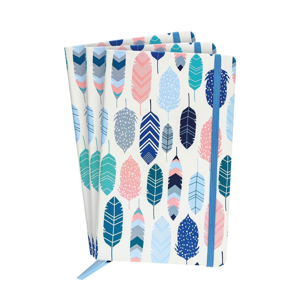 Pukka Feathers Softcover Journal Blue (Pack of 3) 9373-CD