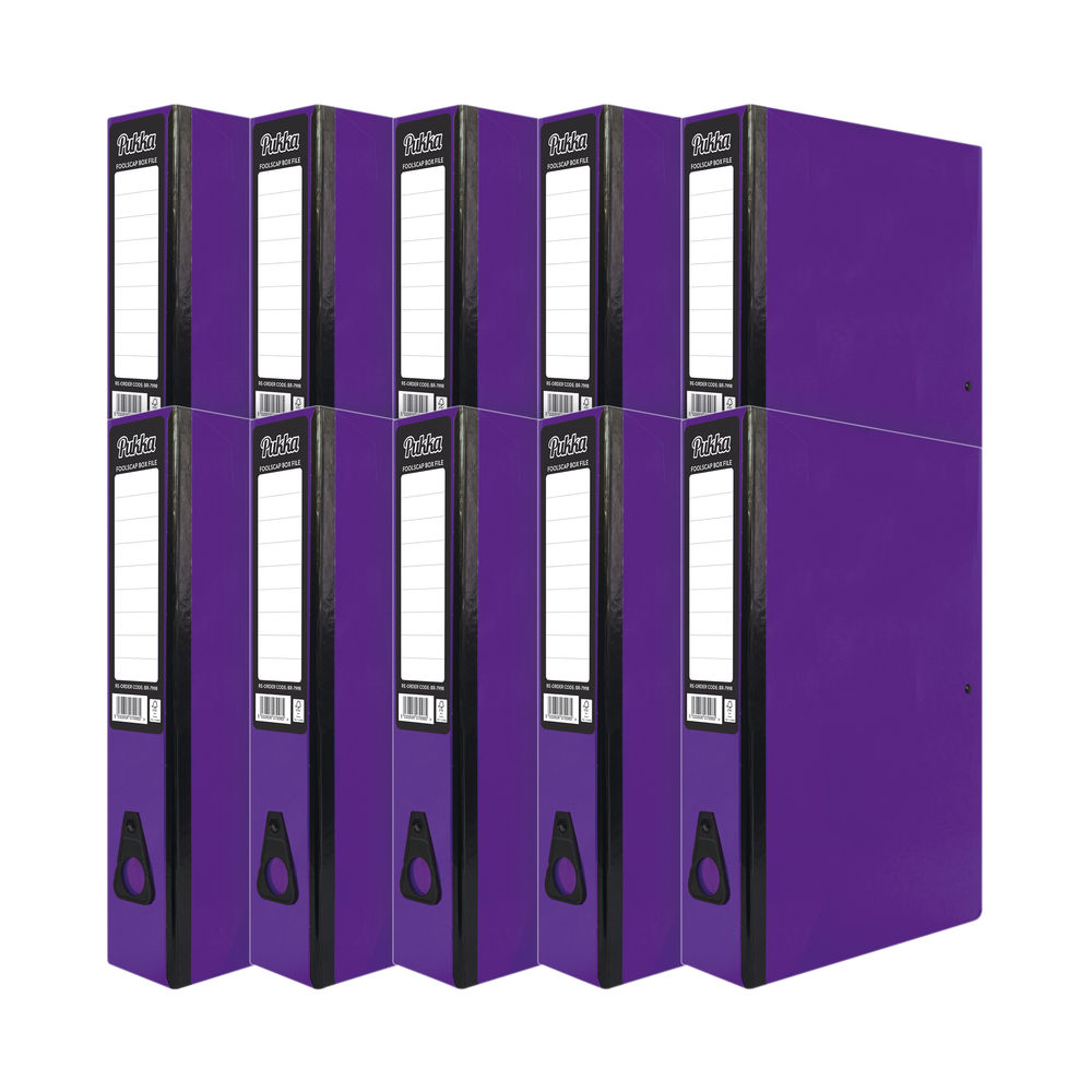 Pukka Brights Box File Foolscap Purple (Pack of 10) BR-7778
