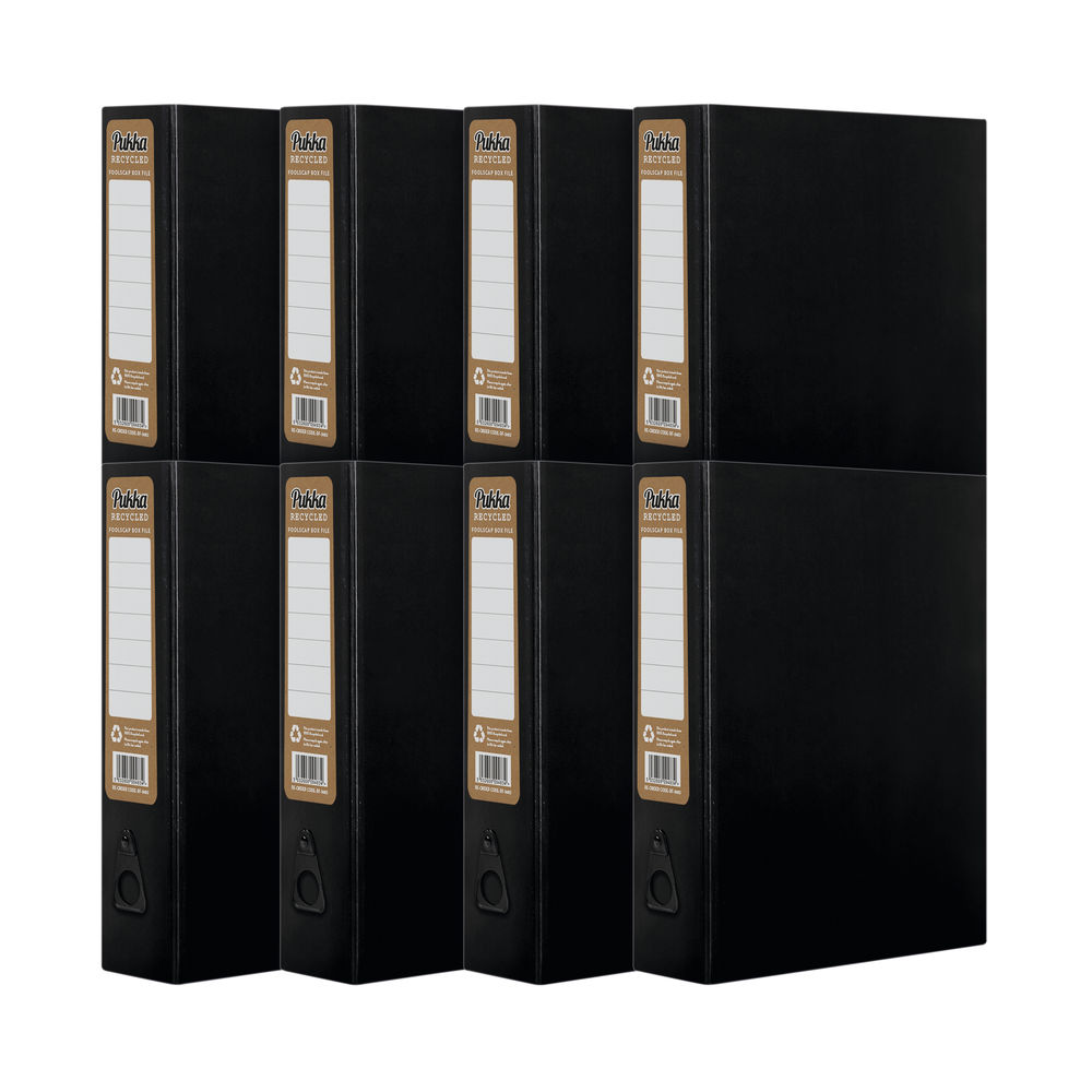 Pukka Recycled Box File Foolscap Black (Pack of 8) RF-9486