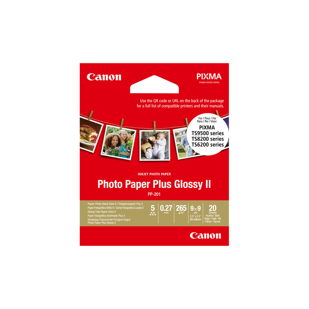 Canon 9 x 9cm Photo Paper Plus Glossy II 265gsm (Pack of 20) - 2311B070