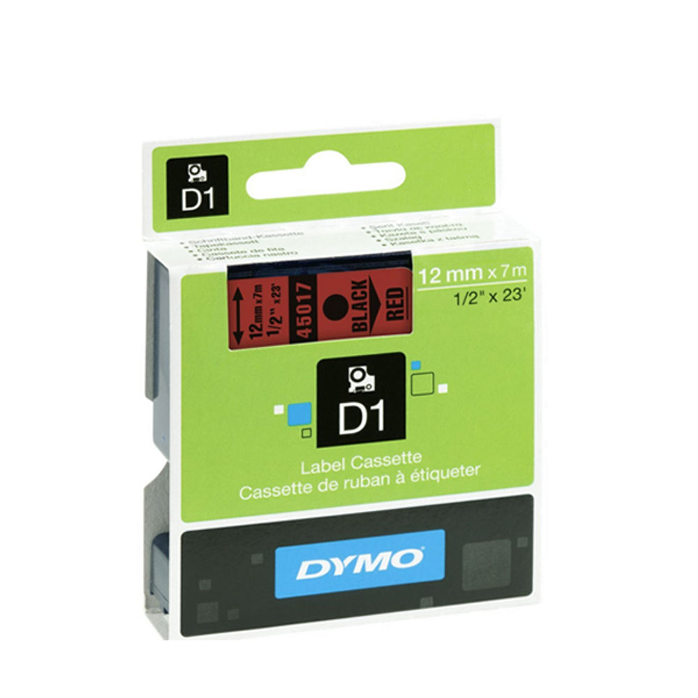 Dymo D1 Labelmaker Tape 12mm x 7m Black on Red   S0720570