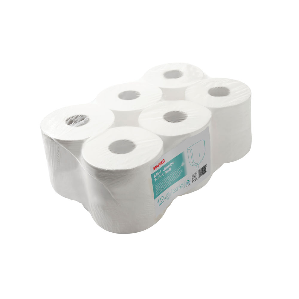 Staples Mini Jumbo Toilet Roll 2-Ply 524 Sheets White (Pack of 12) 412099