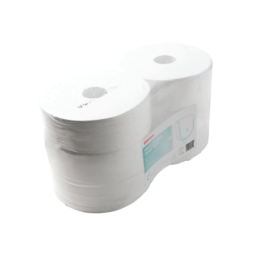 Staples Jumbo Toilet Roll 2-Ply 1114 Sheets 90mm White 412100