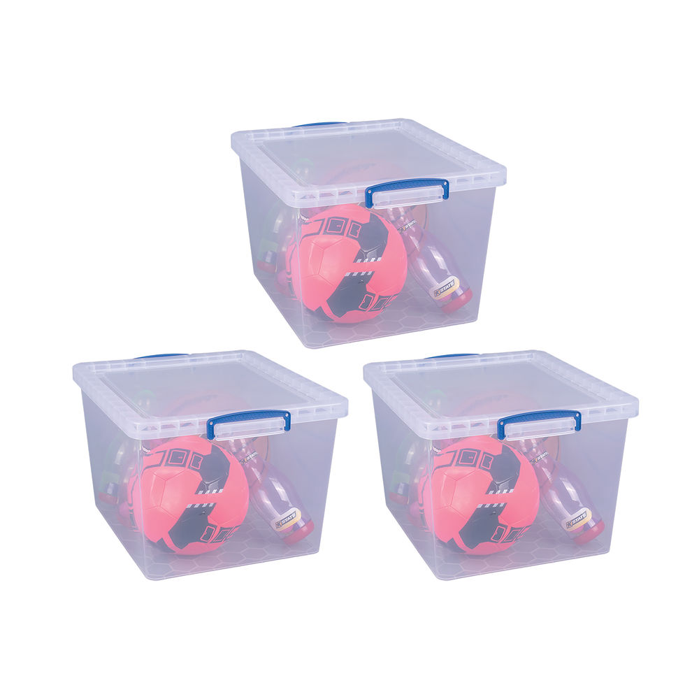 Really Useful 33.5L Plastic Storage Box (Pack of 3) 33.5-CCB-Pack of 3