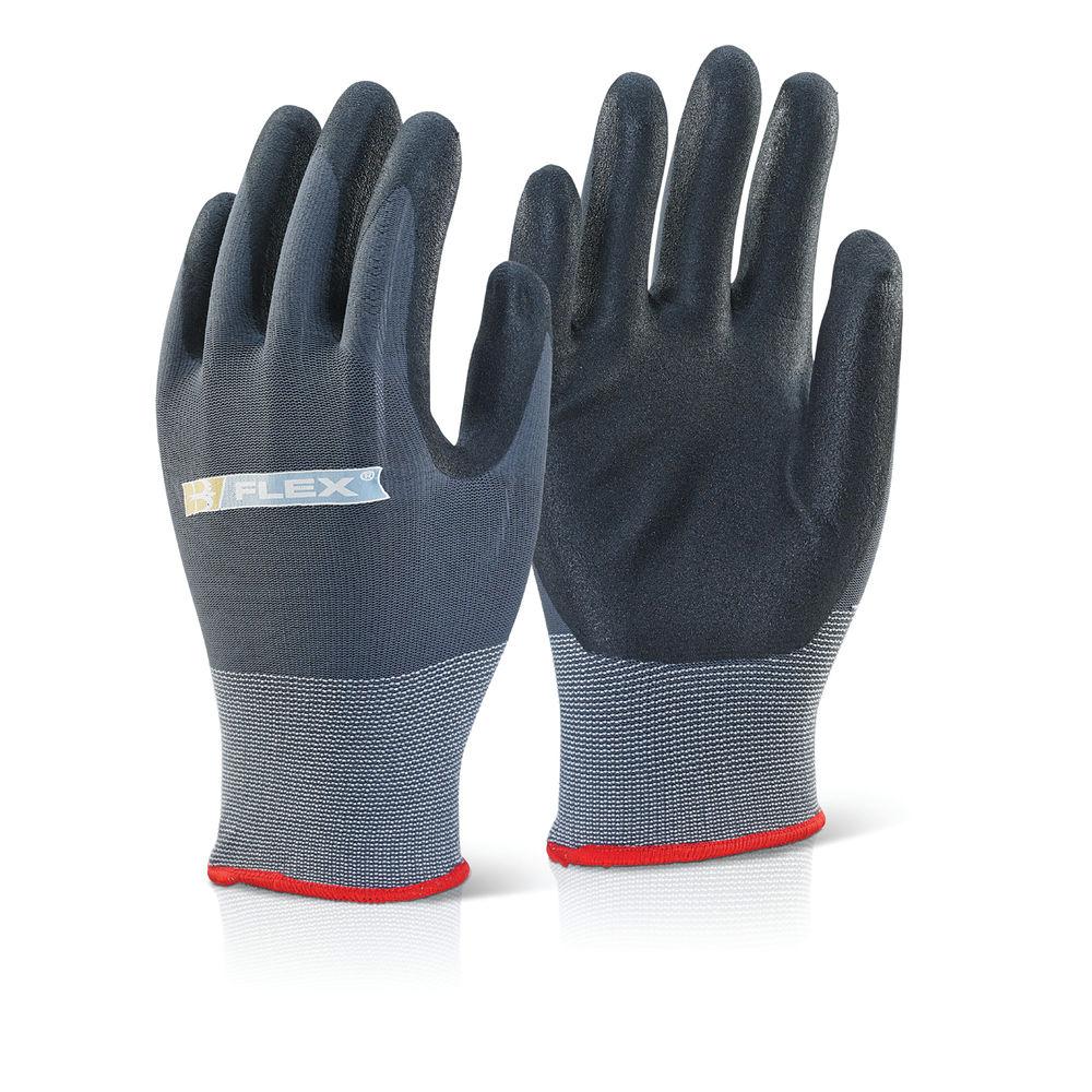 B Flex Nitrile PU Coated Gloves Knitted Nylon Small Black/Grey BF1S