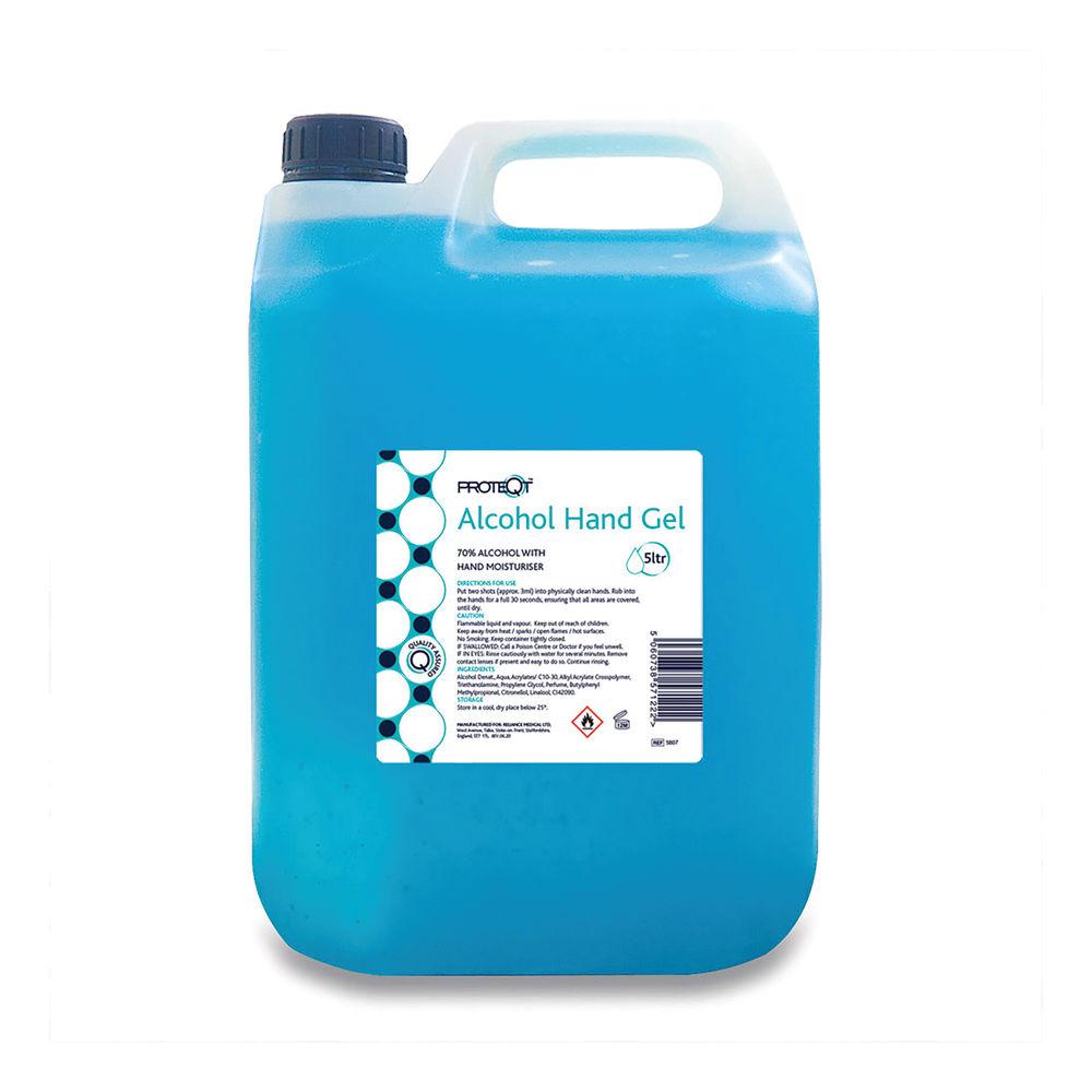 Reliance Medical Proteqt 70 Percent Alcohol Hand Sanitiser Gel with Moisturiser 5 Litre 5807