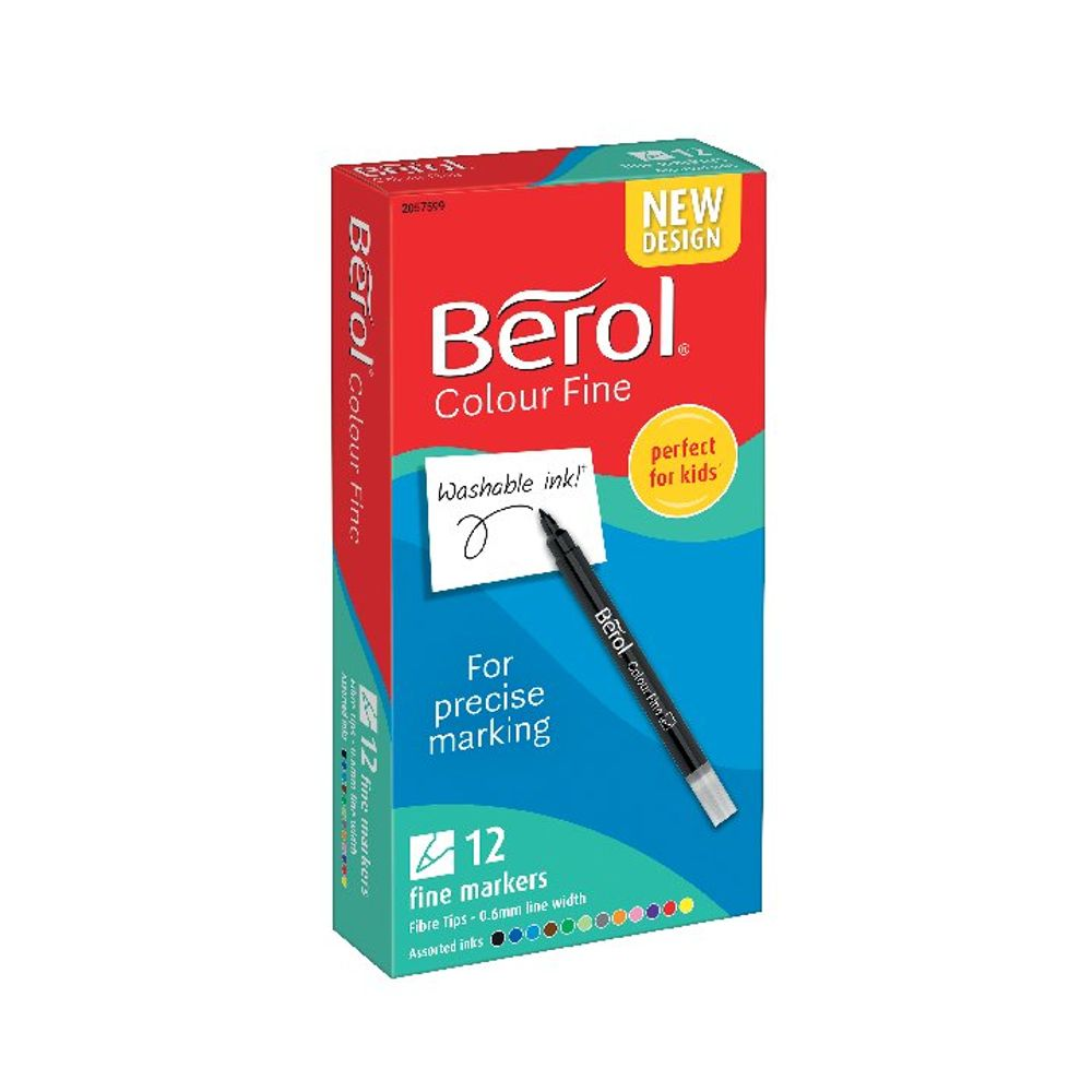 Berol Colour Assorted Fine Pens, Pack of 12 - S0376510