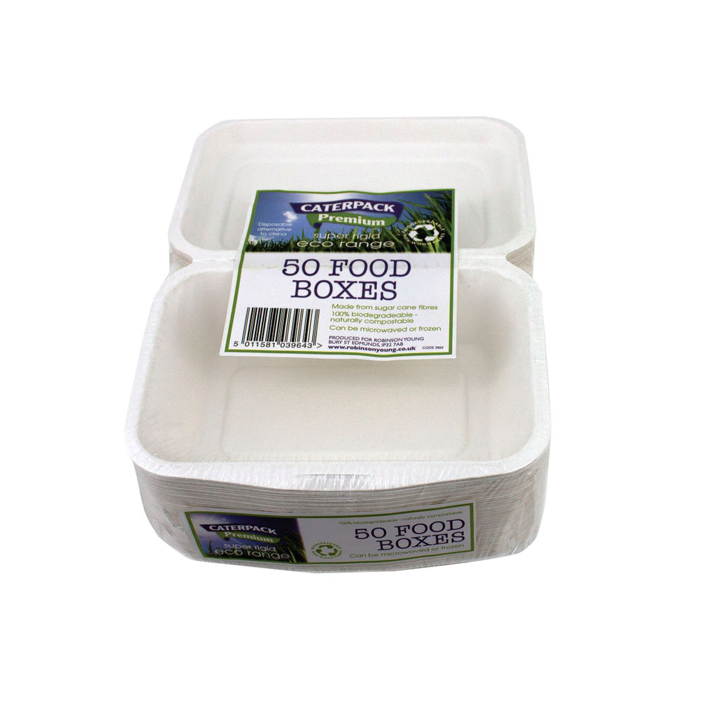 Caterpack Biodegradable Super Rigid Food Boxes (Pack of 50) - RY03860/B004