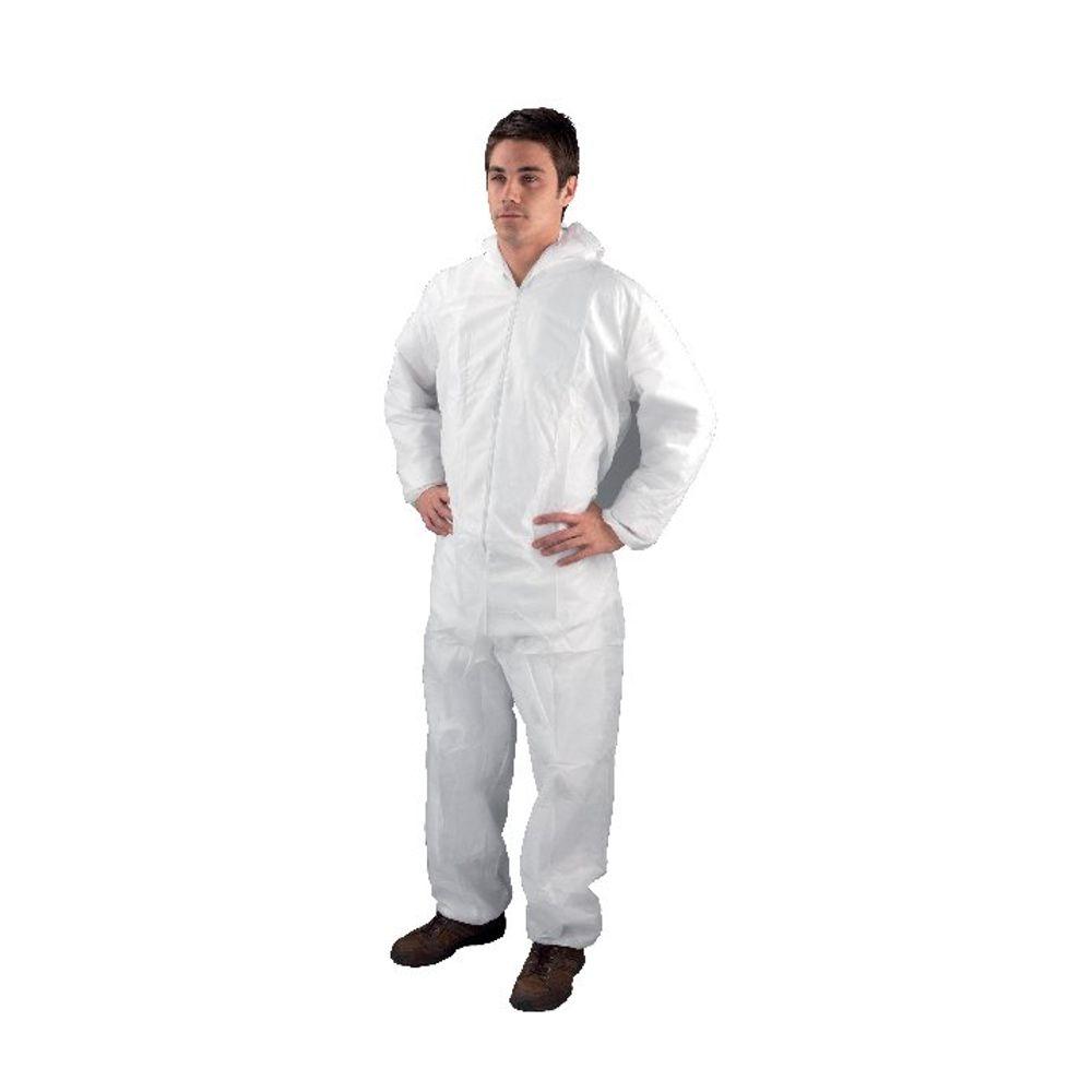 Single Use Non-Woven Coverall Medium 40-44 Inch White DC03