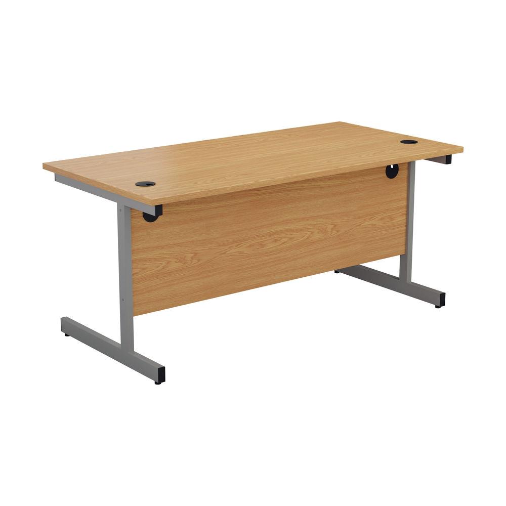 Jemini 1800x800mm Nova Oak/Silver Single Rectangular Desk