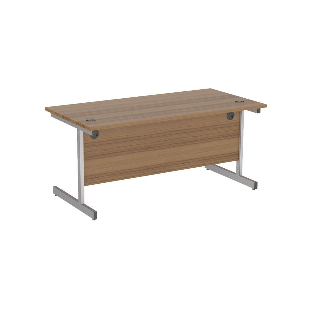 Jemini 1800x800mm Dark Walnut/Silver Single Rectangular Desk