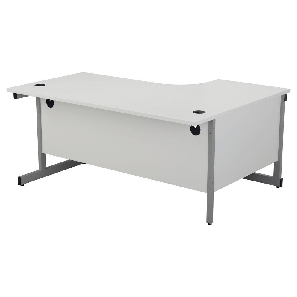Jemini 1800mm White/Silver Left Hand Radial Desk