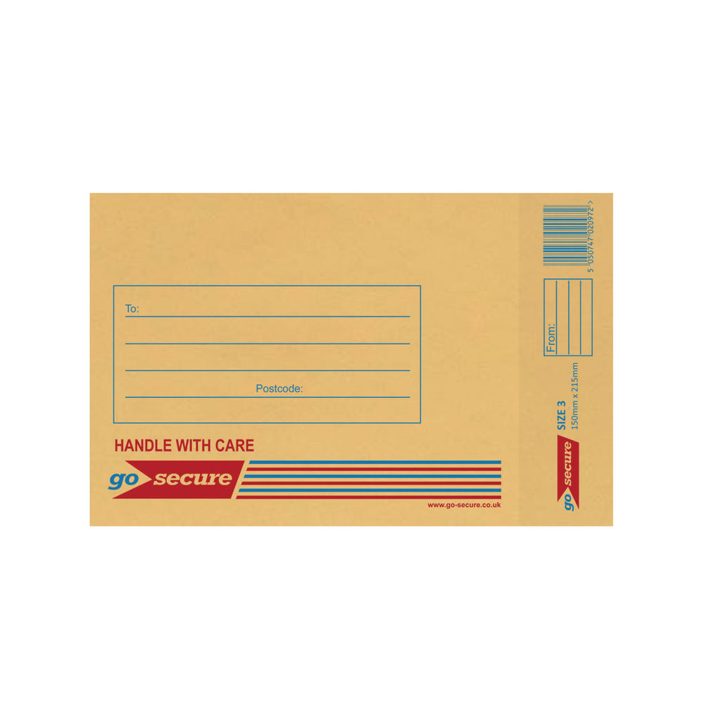 Go Secure Brown Size 3 Classic Bubble Lined Envelopes - Pack of 100 - ML10042