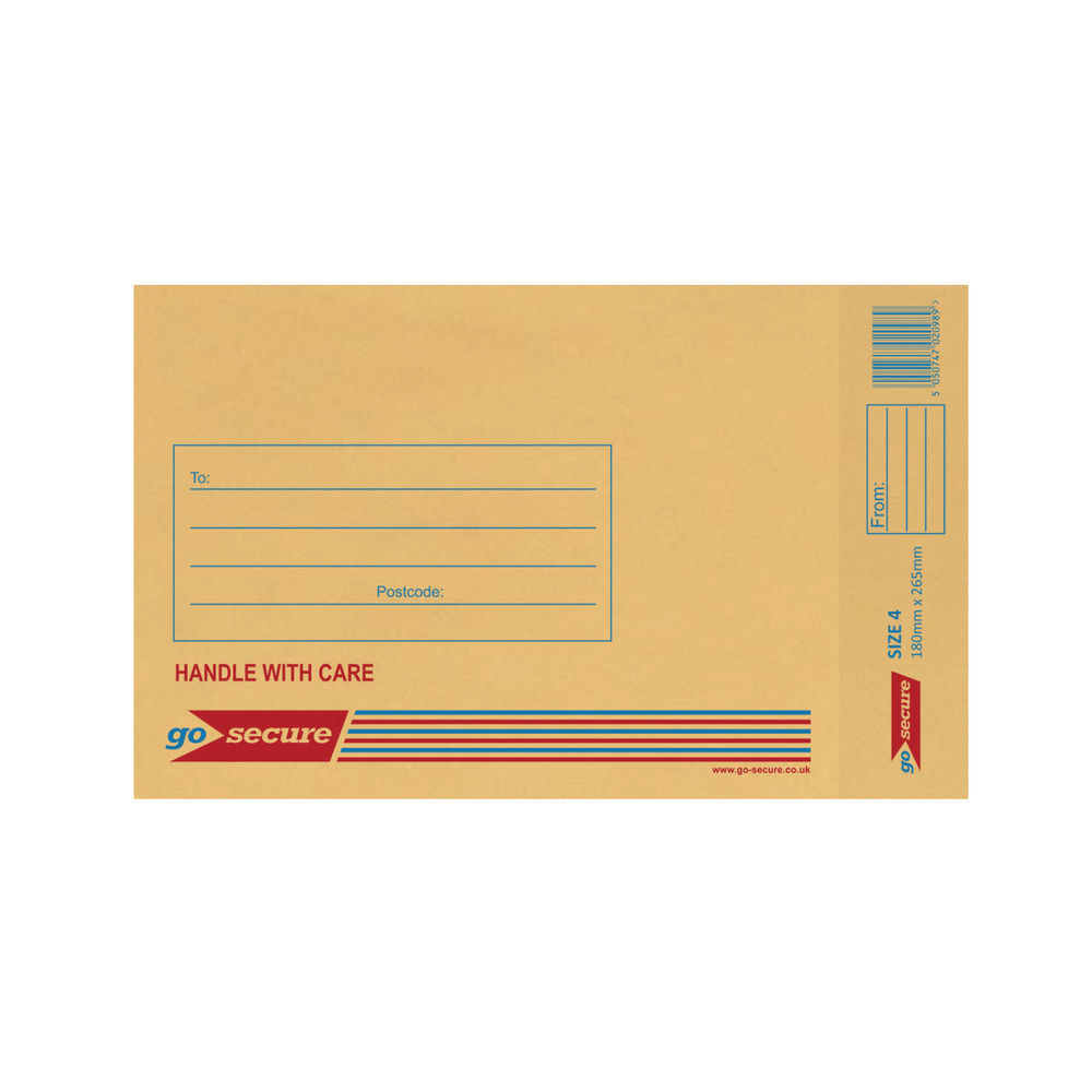 Go Secure Brown Size 4 Classic Bubble Lined Envelopes - Pack of 100 - ML10046