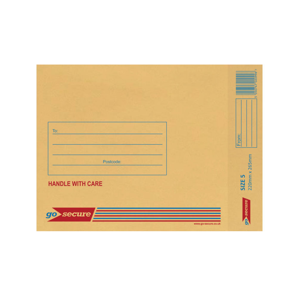 Go Secure Size 5 Bubble Lined Envelopes, Pack of 100 - ML10050