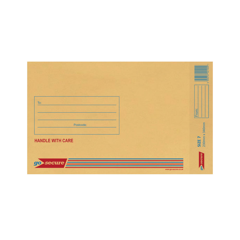 Go Secure Brown Size 7 Classic Bubble Lined Envelopes - Pack of 50 - ML10054