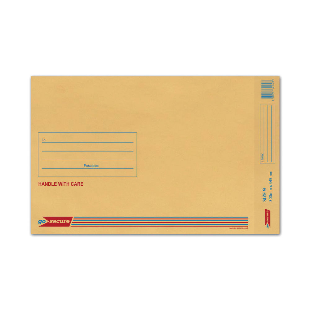 Go Secure Brown Size 9 Classic Bubble Lined Envelopes - Pack of 50 - ML10058