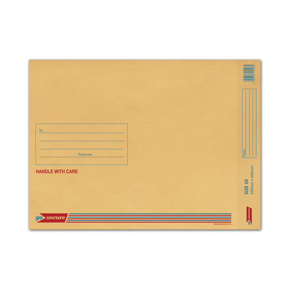 Go Secure Brown Size 10 Classic Bubble Lined Envelopes - Pack of 50 - ML10062