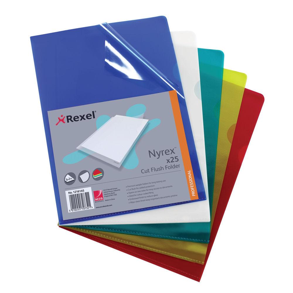 Rexel Nyrex A4 Assorted Cut Flush Folders, Pack of 25 - 12161AS