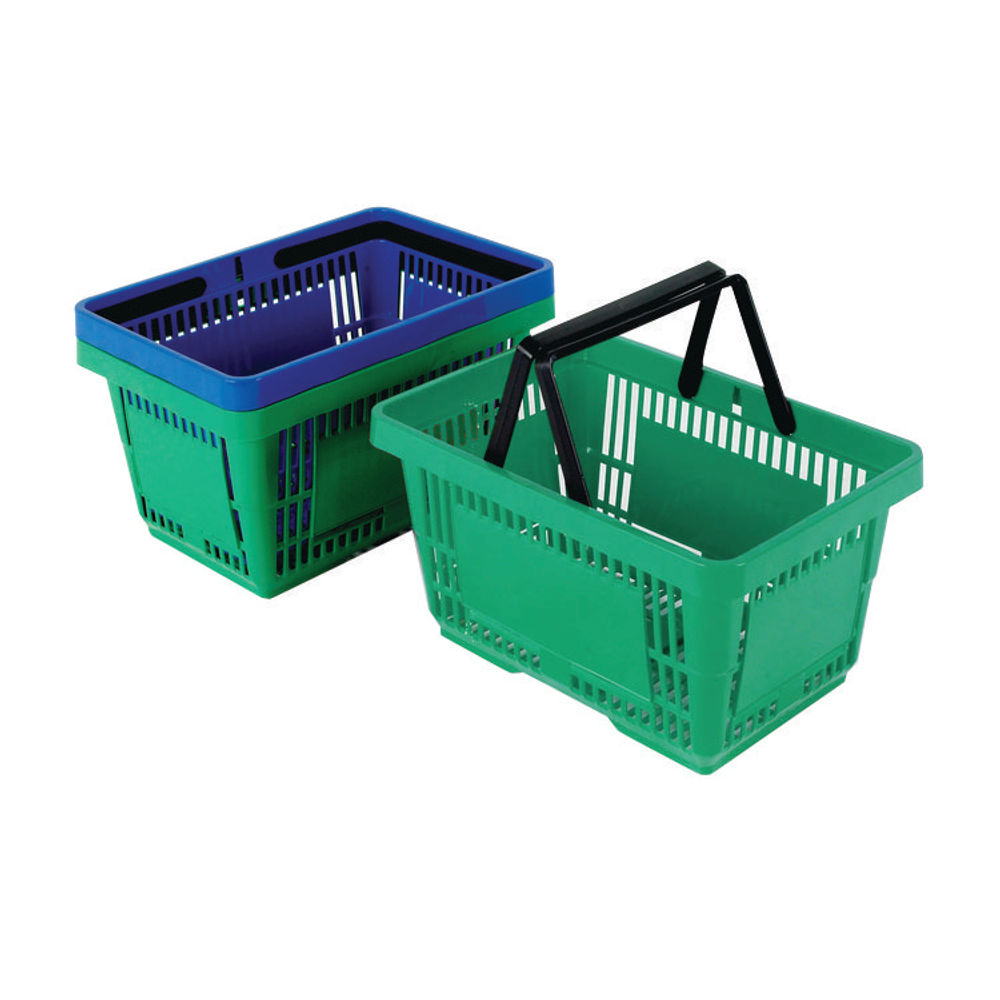 Plastic Shopping Basket Green (Pack of 12) 370767
