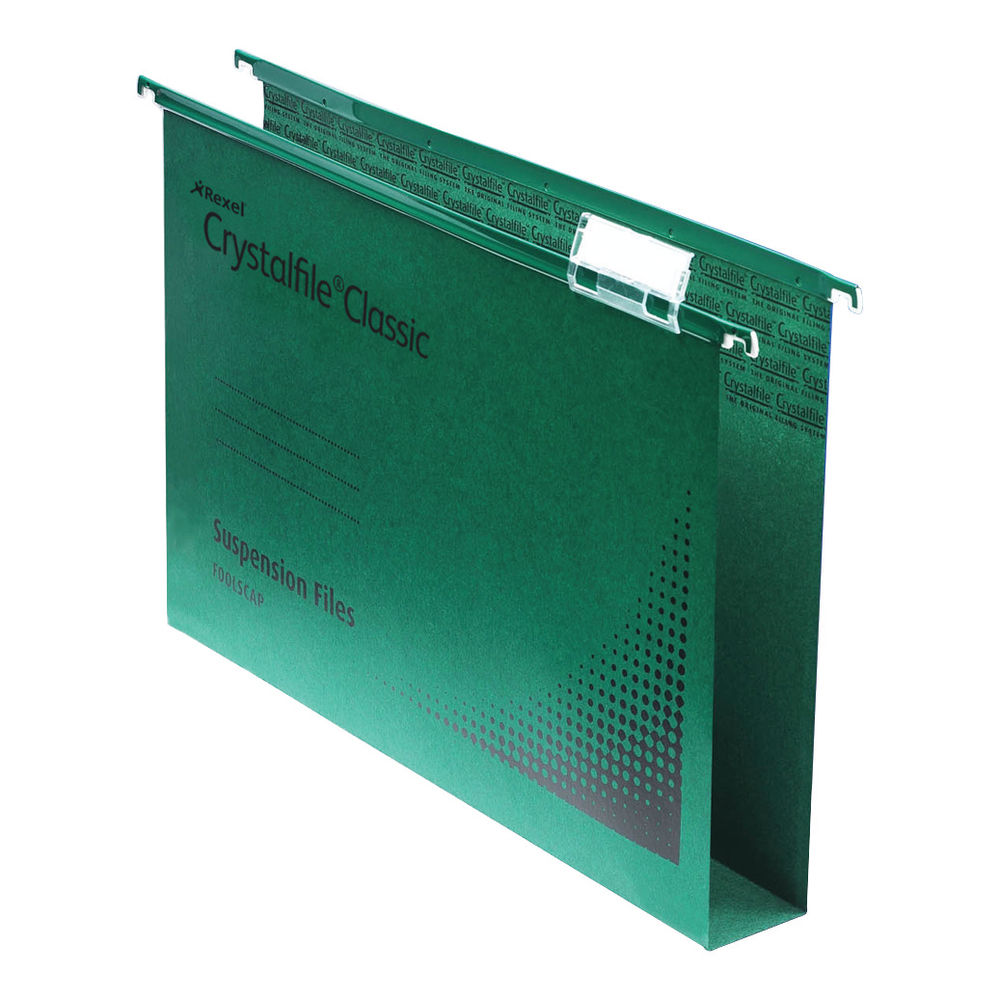 Rexel Crystalfile Extra 275mm Lateral File, 30mm, Green - Pack of 25 - 70640