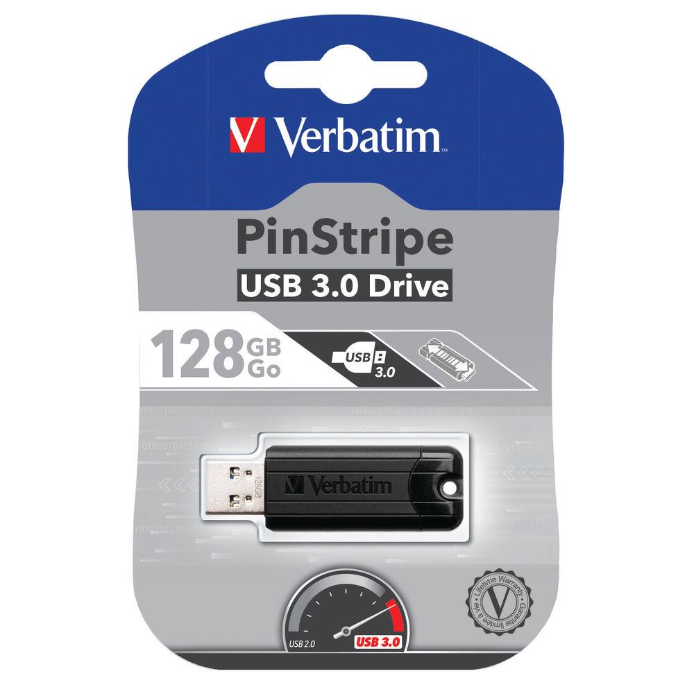 Verbatim Black PinStripe 128GB USB 3.0, Flash Drive - 49319