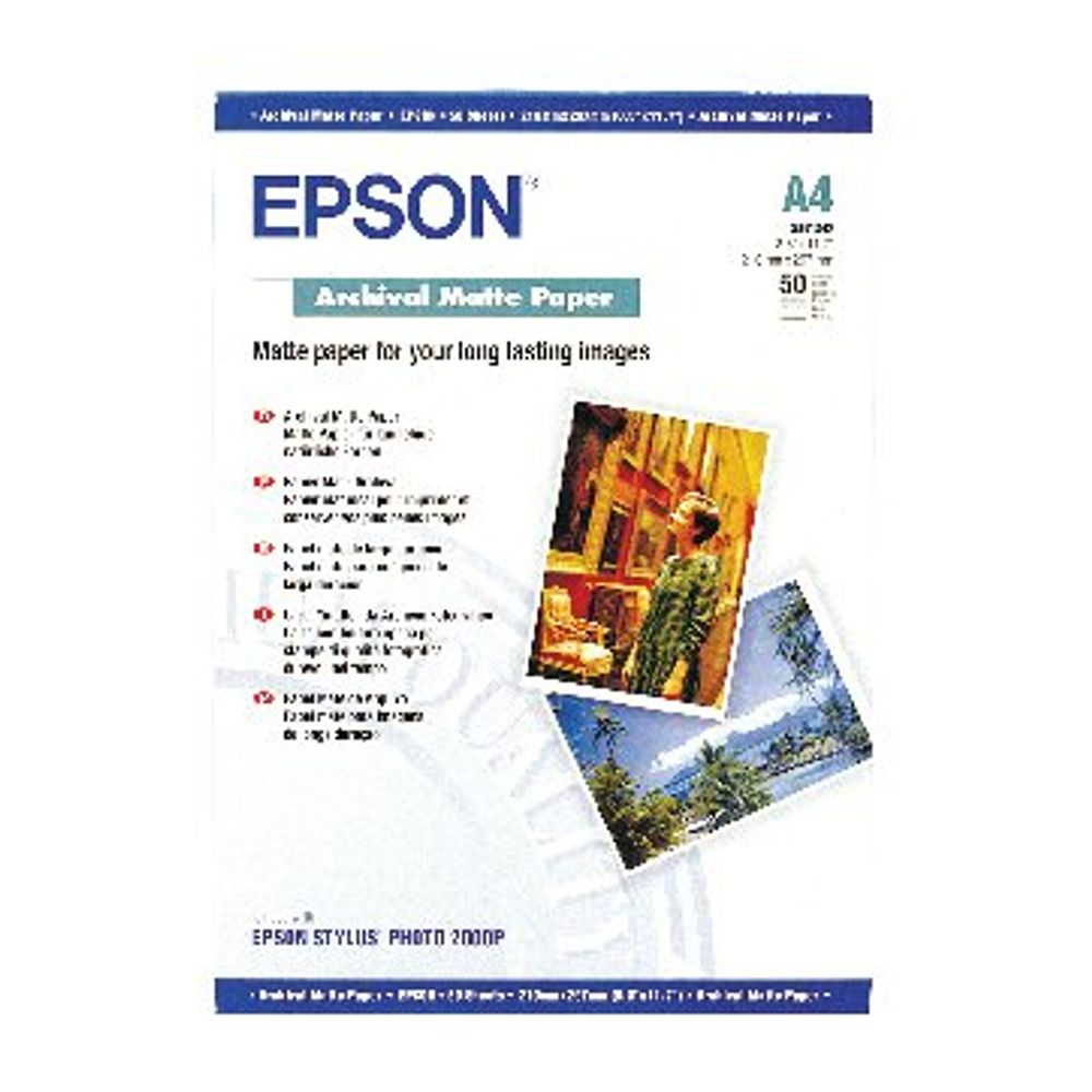 Epson White A4 Matte Photo Paper, 192gsm - 50 Sheets - C13S041342