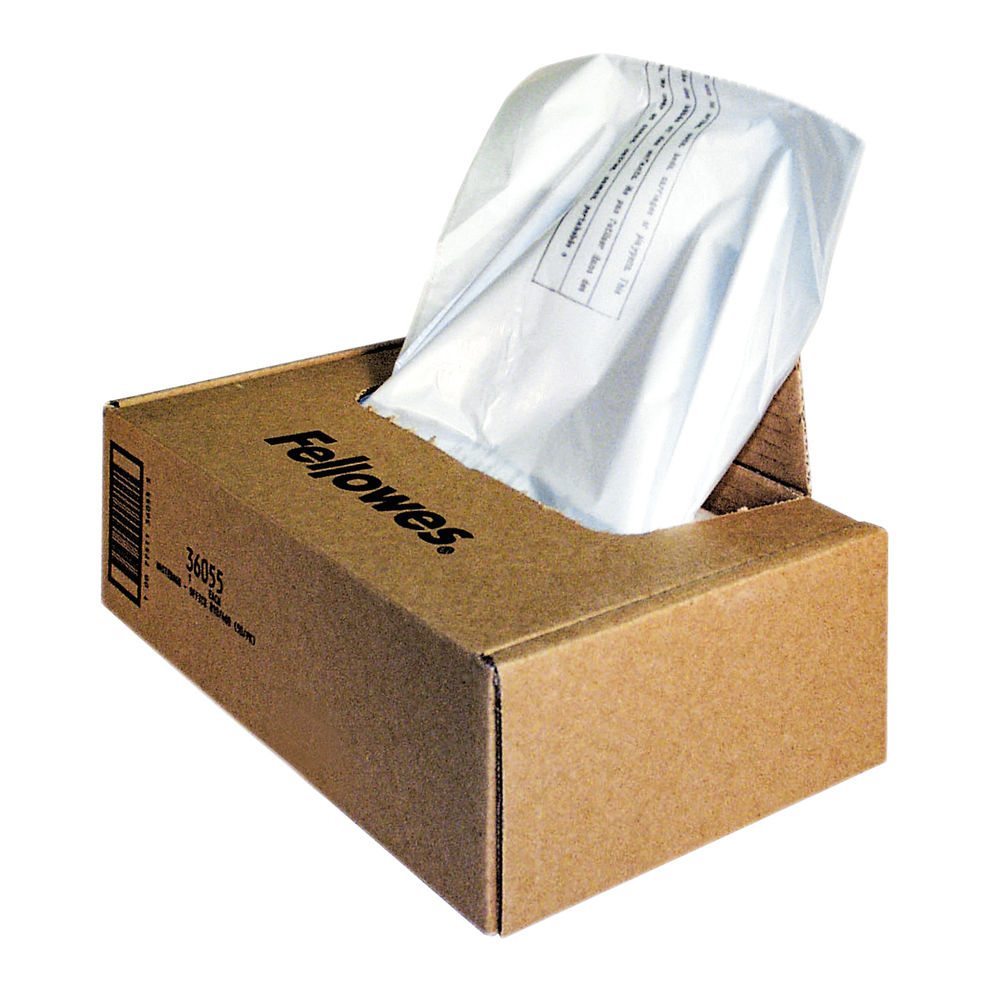 Fellowes Shredder Bags 225 Litre Capacity, Box of 50 - 36055