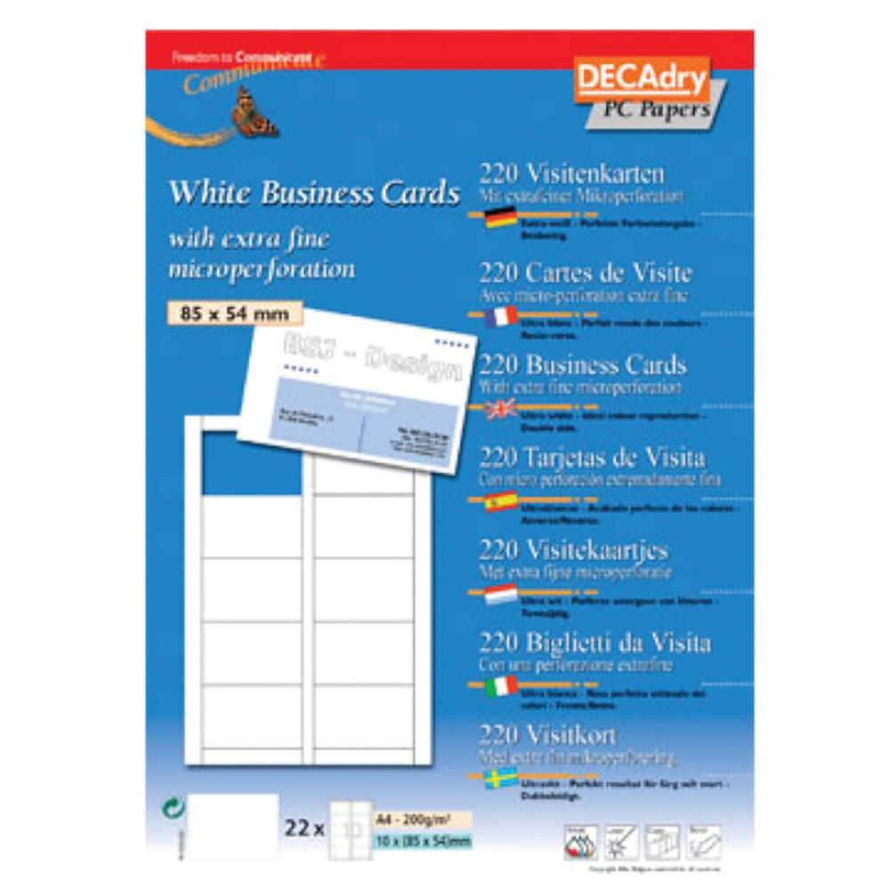 Decadry T403327 Business Cards 85x54mm 200gsm (Pack of 220) OCB-3327