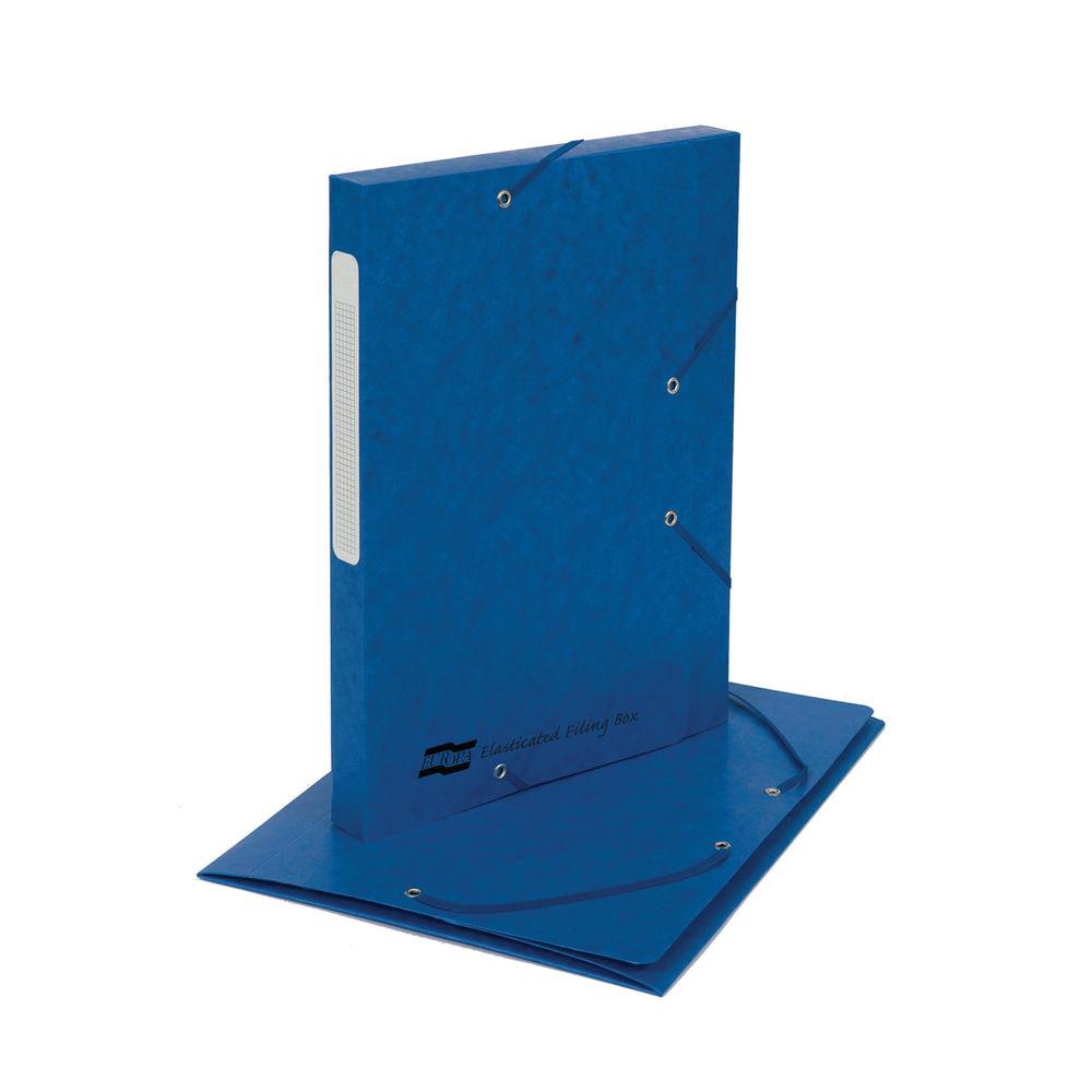Exacompta Elasticated 25mm Box File A4 Spine Label Blue 5218Z