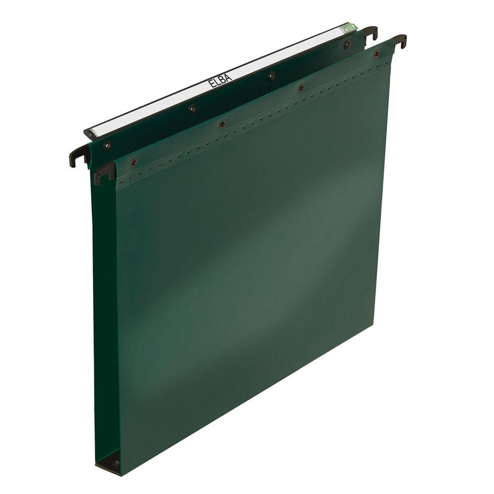 Elba PP Ultimate 390 Vertical File Foolscap 30mm Green (Pack of 25) 100333171