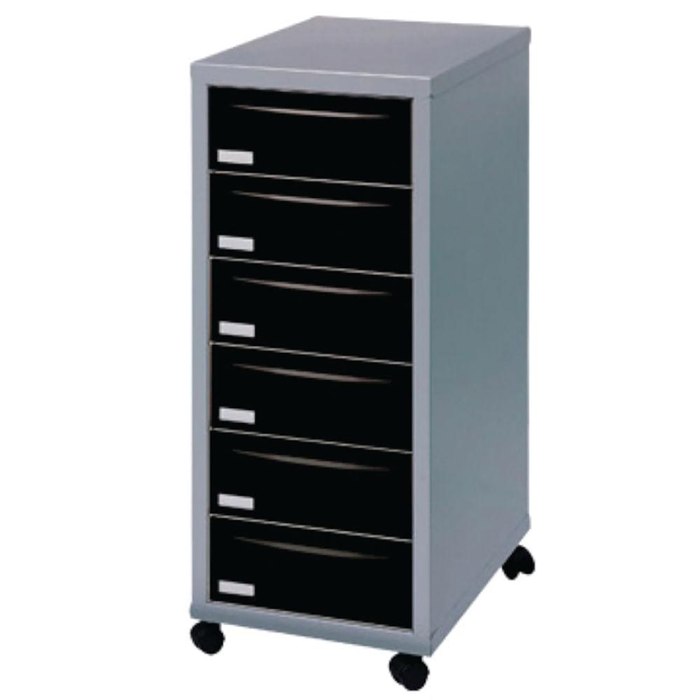 Staples 660mm Black/Silver 6 Drawer Multi Drawer Cabinet - 95992