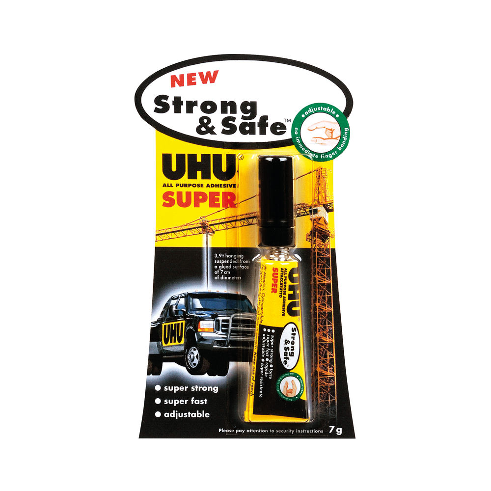 UHU 7g Strong and Safe Super Glue, Pack of 12 - 39722