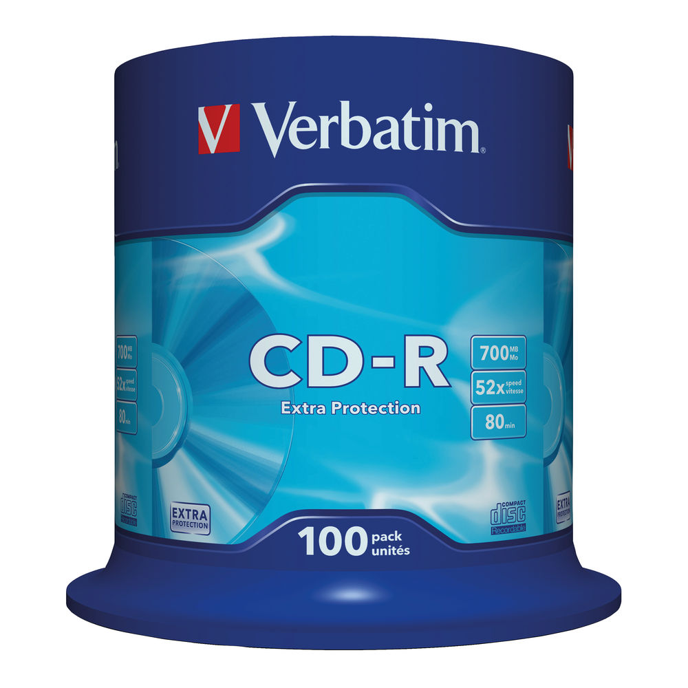 Verbatim White Face 700MB 52x Extra Protection CD-R, Pack of 100 - 43411