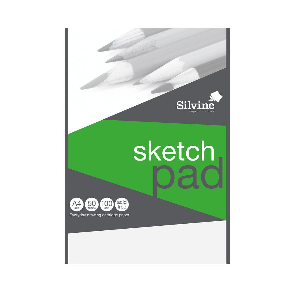 Silvine Drawing Pad Acid Free Cartridge Paper 50 Sheets A4 474