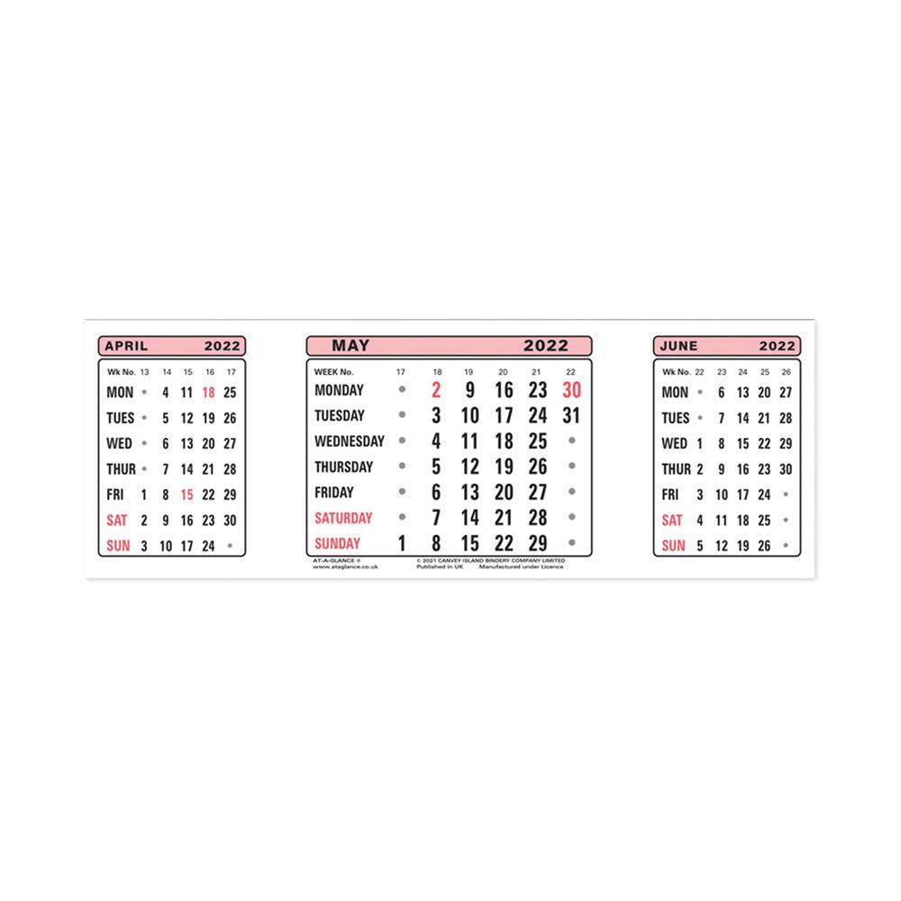 At-A-Glance Calendar Refill 2022 3 Month View 3SR22