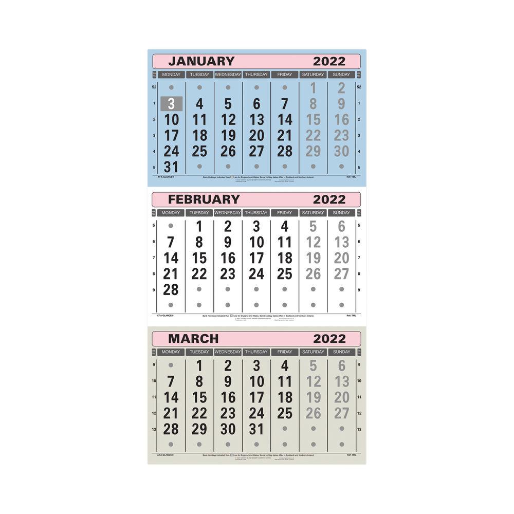 At-A-Glance 3 Monthly Calendar 2022 TML22