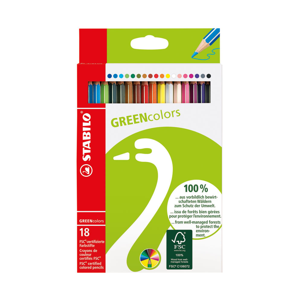 Stabilo Green Colours Colouring Pencils (Pack of 18) 6019/2-181