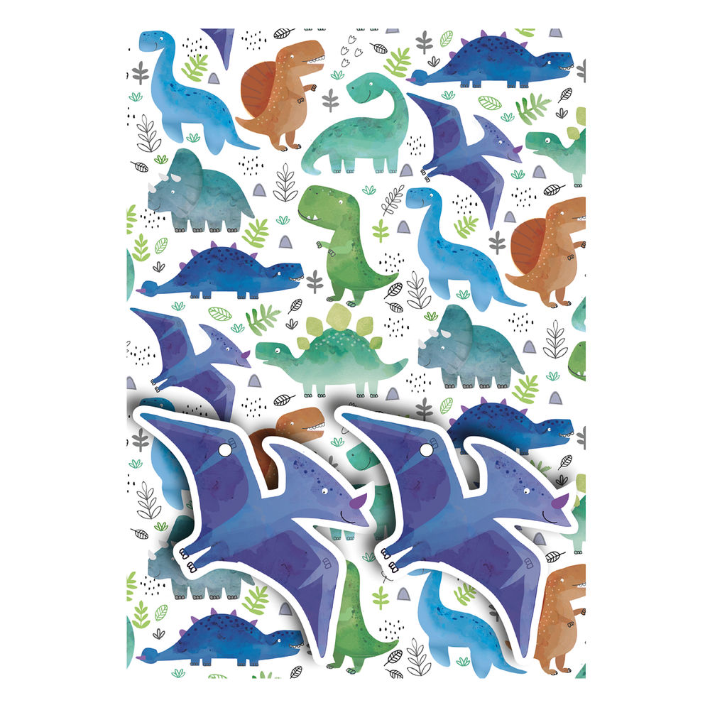Dinosaurs Gift Wrap and Tags, Pack of 12 - 27234-2S2T