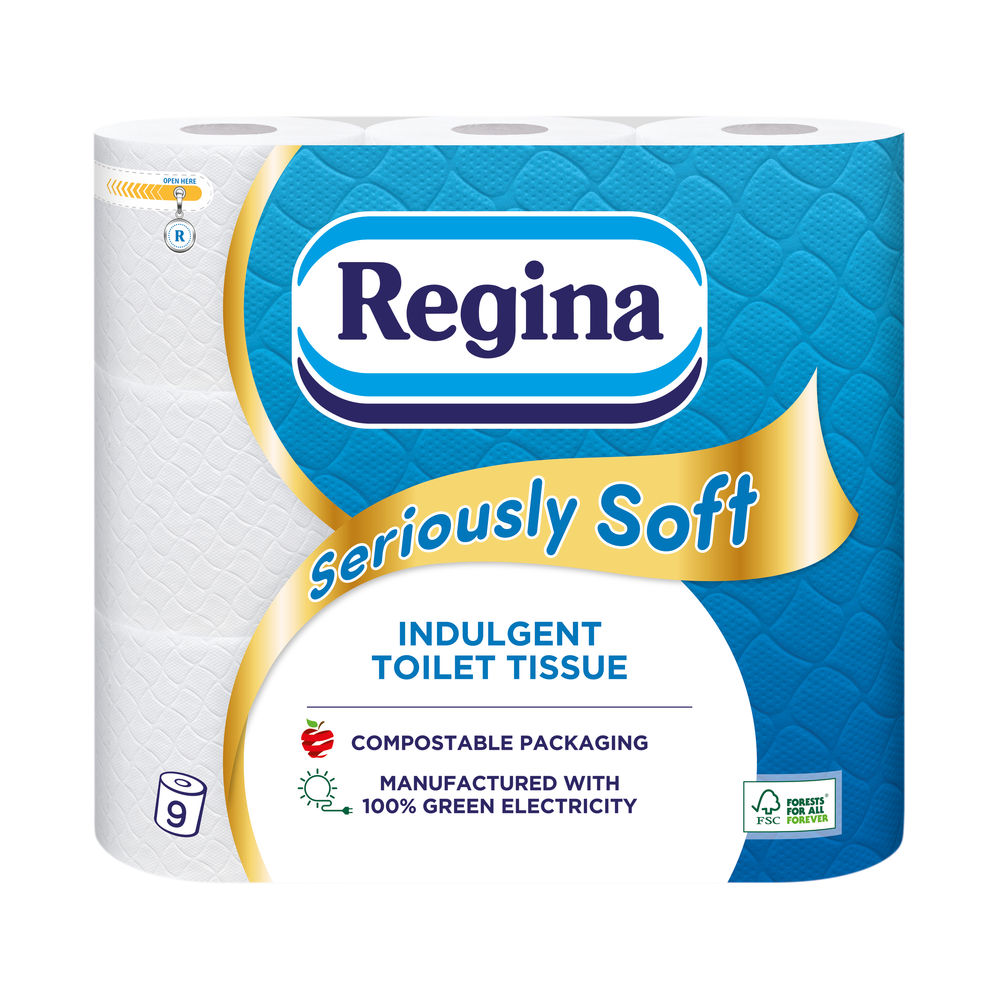 Regina Seriously Soft 3Ply Toilet Tissue 9 Roll White (Pack 5) 1102179