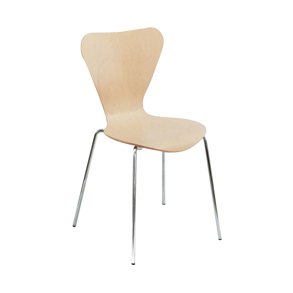 Arista Picasso Beech/Silver Wooden Chairs, Pack of 4