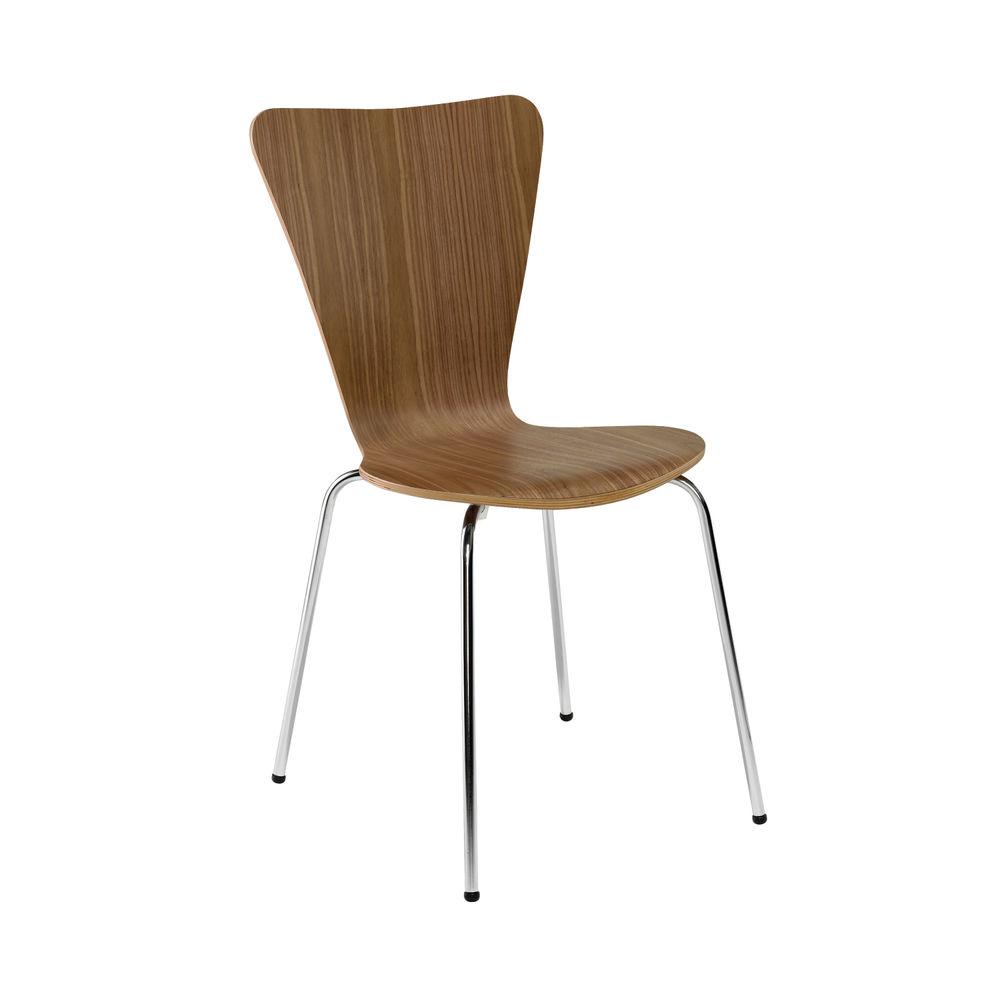 Arista Walnut/Chrome Wooden Bistro Chairs, Pack of 4