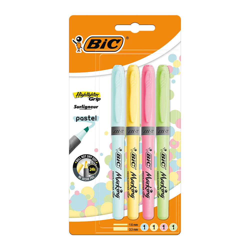 BIC Marking Assorted Pastel Grip Highlighters, Pack of 4 - 964859