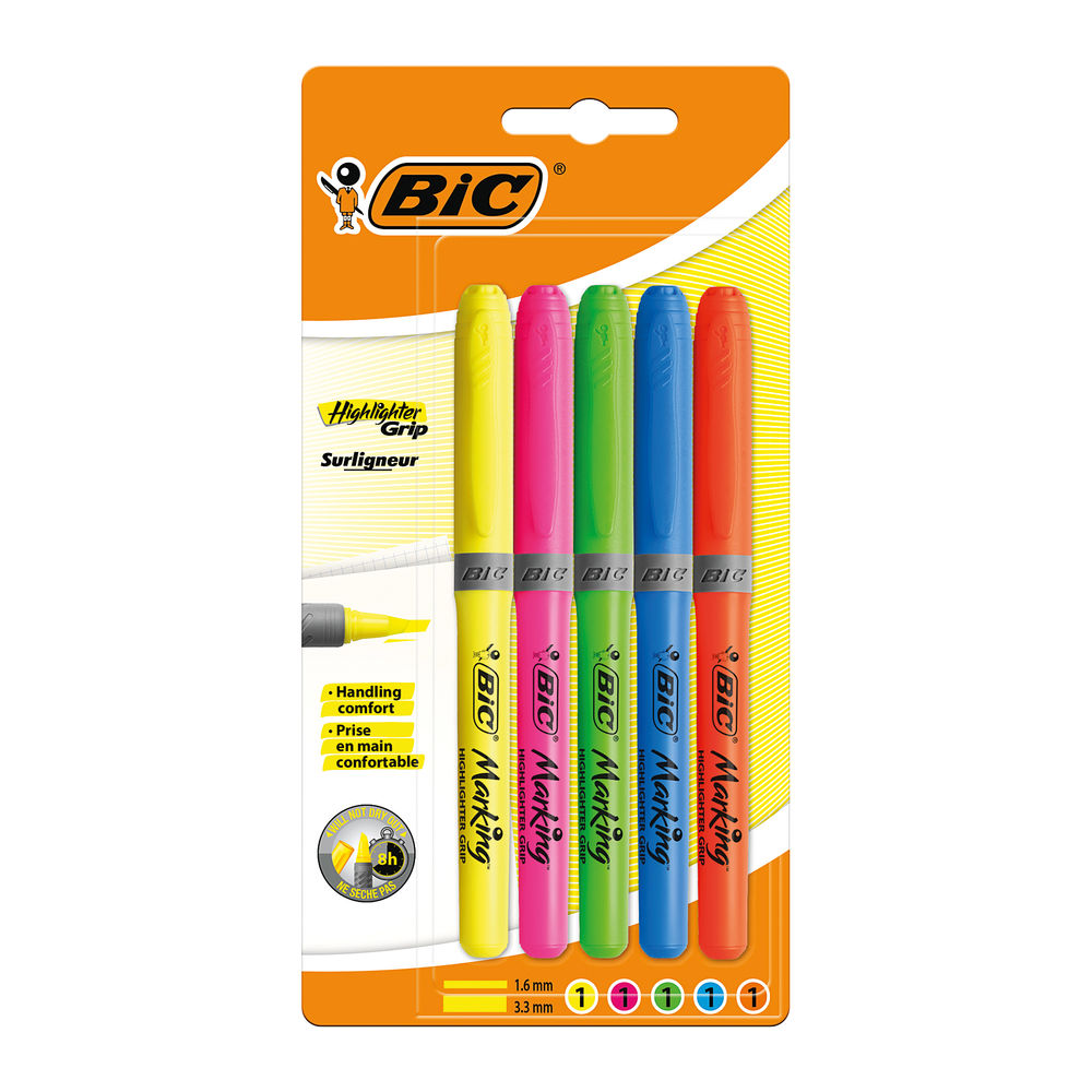 BIC Marking Assorted Grip Highlighters, Pack of 5 - 894324