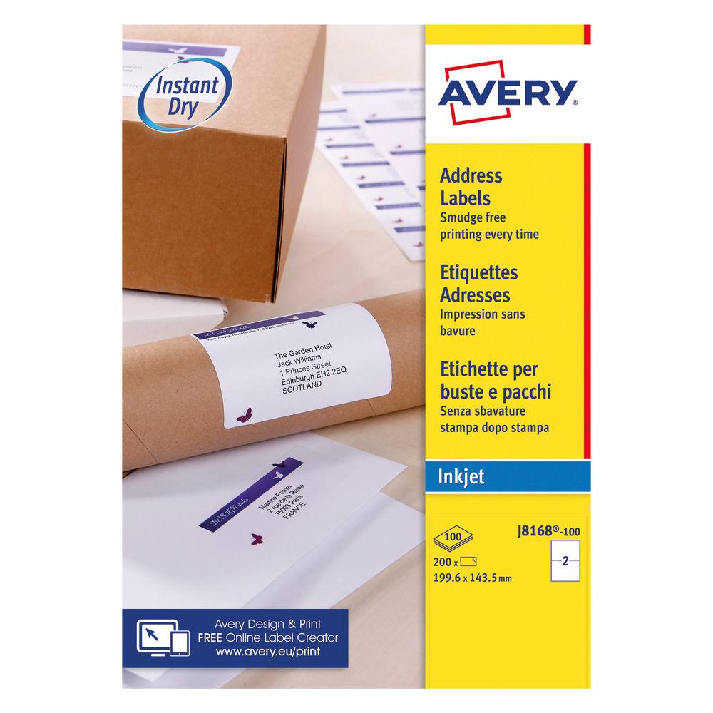Avery 199 x 143.5mm White Address Inkjet Labels, Pack of 200 - J8168-100