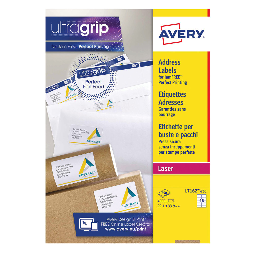 Avery 99.1 x 33.9mm White Ultragrip Laser Labels, Pack of 4000 - L7162-250